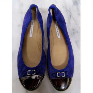 Diane Van Furstenberg Night Sky Blue Cap Toe Shoes